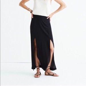 NWT Madewell black silk black maxi skirt w/ slits